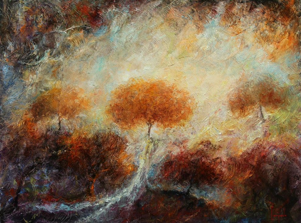 Trees in Flight Abstract Landscape Painting by Dario Campanile